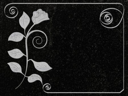 stonework: rose decoration at black granite gravestone, copyspace
