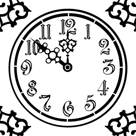 number 12: old style vintage clock in black and white  Illustration