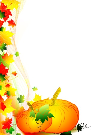 autumnally: Autumn scenery with multicolored maple leaves and pumpkin with over white background