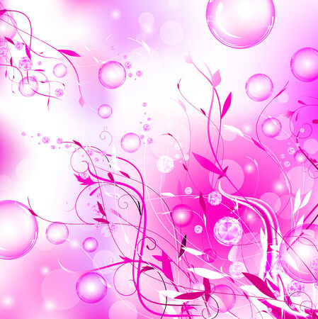 fashion diamond floral abstract glamorous background with bubbles in pink Vector
