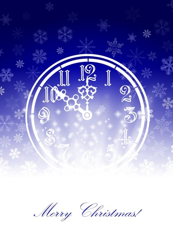 New year theme with vintage clock and snowflakes photo