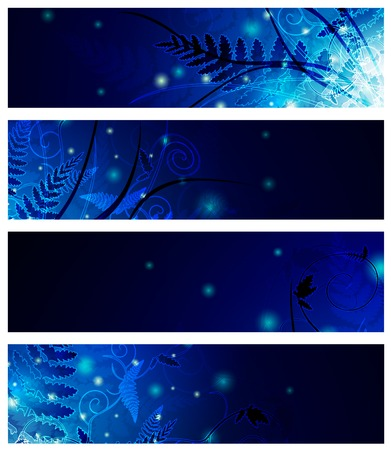 magic floral neon web banner set in blue Stock Vector - 7987983