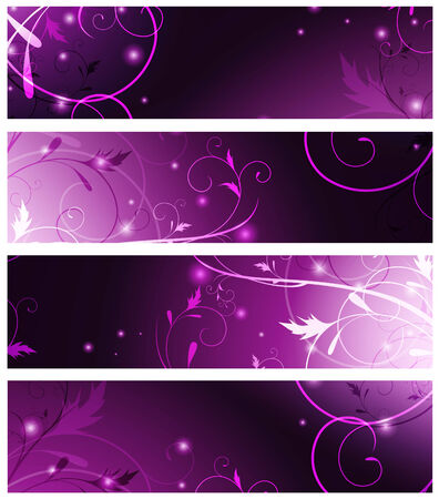 magic floral neon web banner set in violet Stock Vector - 7987982
