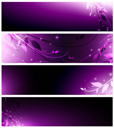 magic floral neon web banner set in violet Stock Vector - 7987985