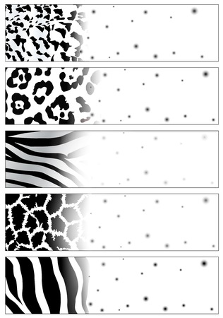 wild animal web banner set with copyspace Stock Vector - 7987963
