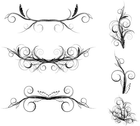 curve floral element set in black and white  Vector