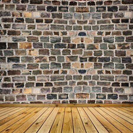 coarse stone wall and the wooden floor  Stock Photo - 8145652