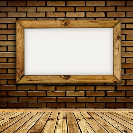 wooden frame on the brick wall Stock Photo - 8145643
