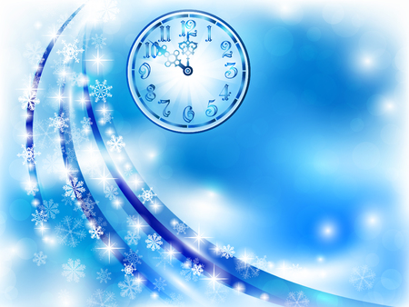 midnight hour: New year theme with clock, snowflakes and lights, copyspace