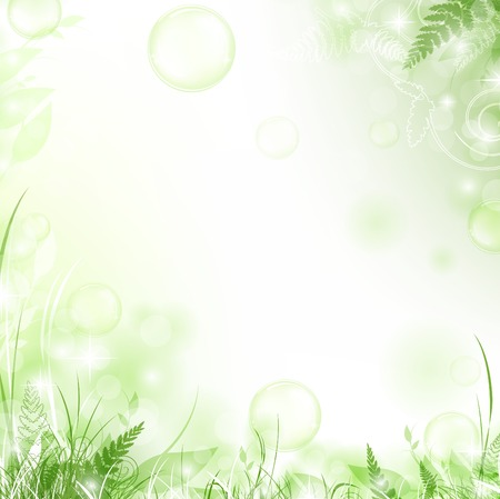 ferns: nature floral air background with bubbles
