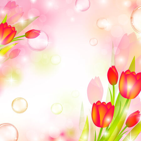 nature floral air background with bubbles Stock Vector - 8145659