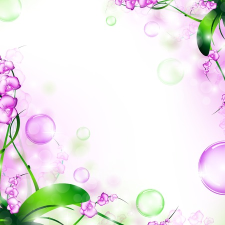 nature floral air background with bubbles Vector Illustration