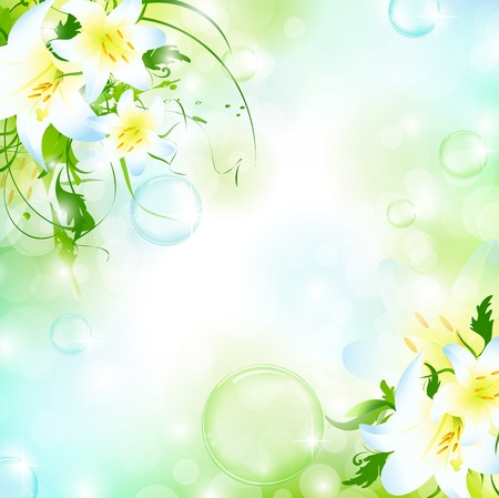 nature floral air background with bubbles Vector