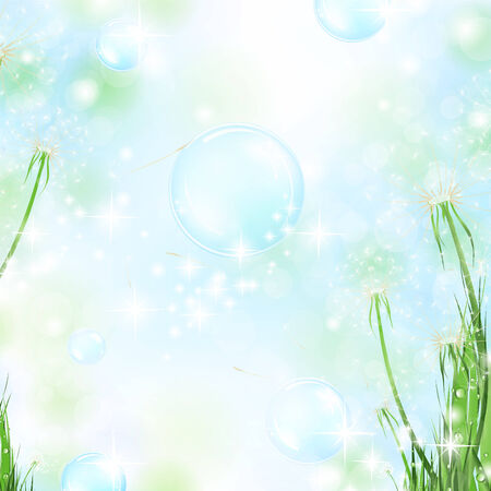 nature floral air background with dandelions and bubbles