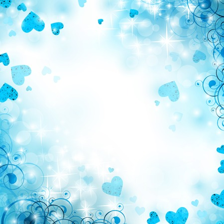 holiday bright winter background with hearts and stars