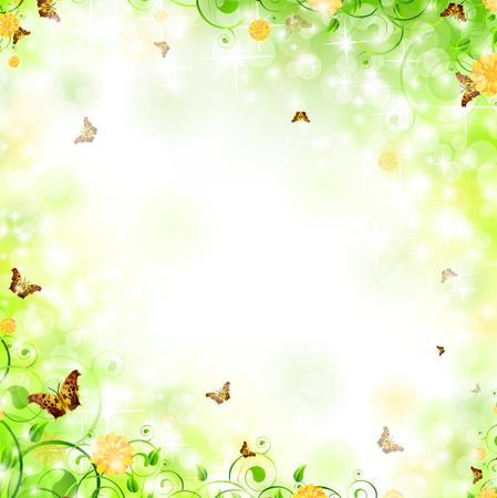 borde de flores: Ilustraci�n de marco floral con remolinos, la mariposa, el follaje y la copia-espacio para el texto  Vectores