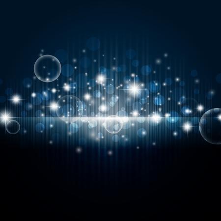spotlights: Fondo de noche brillante con estrellas y luces