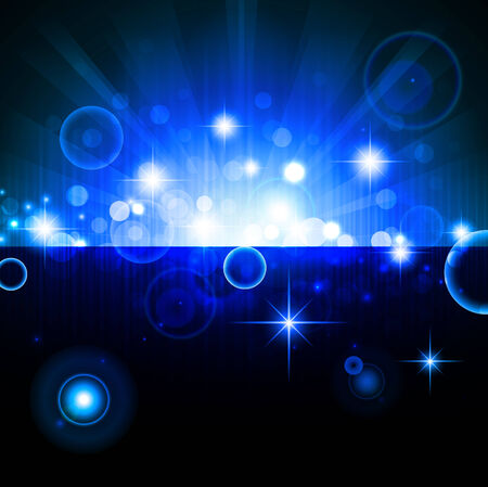flicker: bright night background with stars and lights Illustration