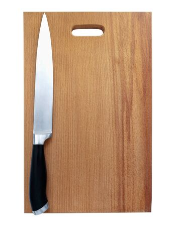 hardboard:  sharp kitchen knive on the breadboard over white