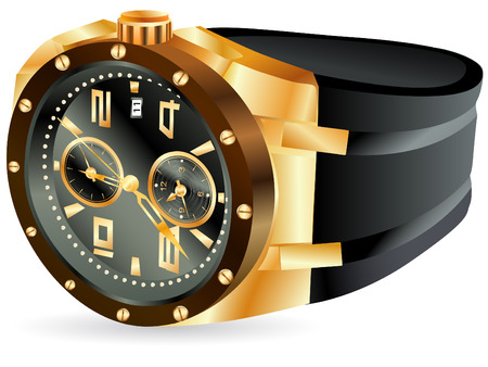 illustration of luxury golden man watch against white background Vector