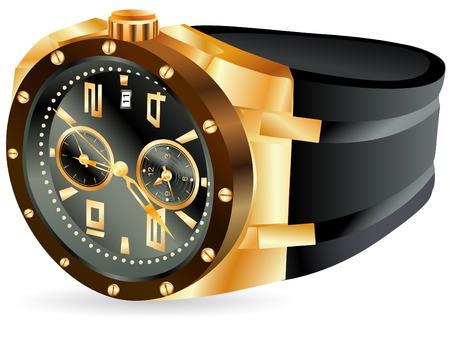 mans watch: Ilustraci�n de reloj de hombre de lujo dorado sobre fondo blanco Vectores
