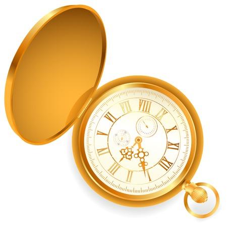 illustration of old opened vintage pocket clock against white