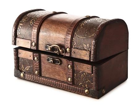treasure box: vintage wooden chest over white