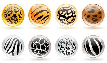 set van verschillende glanzende ballen met wilde dieren huid patronen