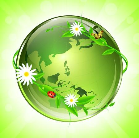 World conceptual eco glossy globe   Vettoriali