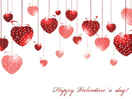 day valentine's day: Valentine`s day theme with mosaic hearts over white