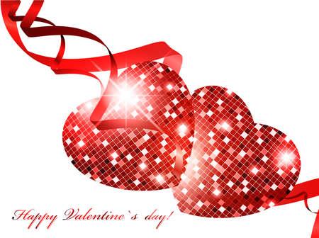 Tema del día de San Valentín con corazones de mosaico sobre blanco