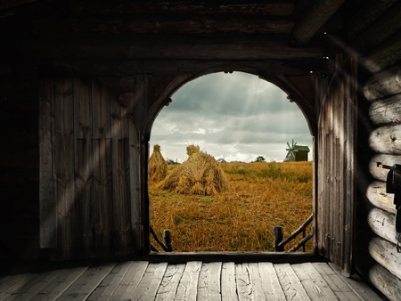 open gates of old house with view to the field photo
