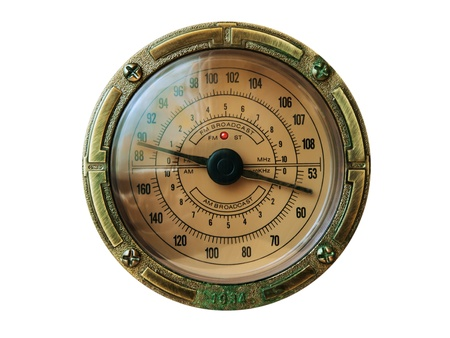 Old fashioned radio dial in metallic frame  photo