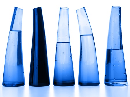 Laboratory flasks with liquid in blue Stock Photo - 8653614