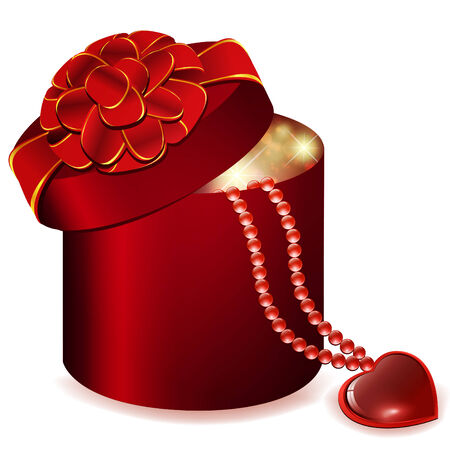 jewelry box: Valentine`s day theme with gift box and heart jewelry