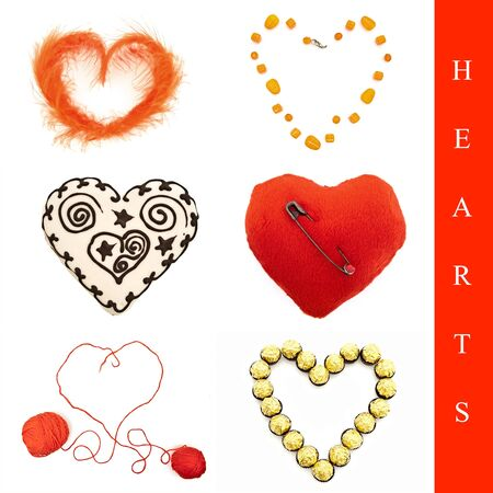 Set from six different heart shapes over white photo