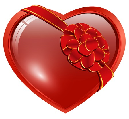 bows and ribbons: red heart with ribbon bow over white