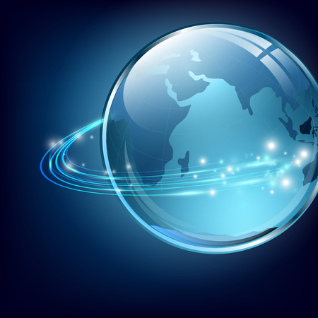 fiber optic cable: Earth with communication digital fibers over blue    Illustration