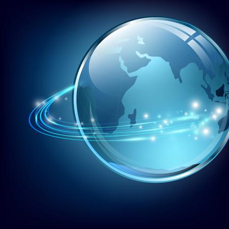 fibra ottica: Terra con fibre di comunicazione digitale su blu