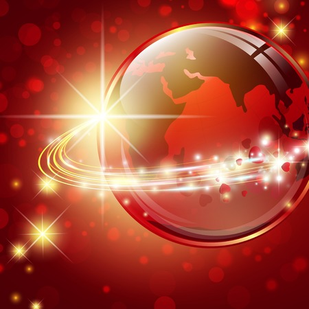 optics: Earth with light fibers and stars over red background with bokeh    Illustration