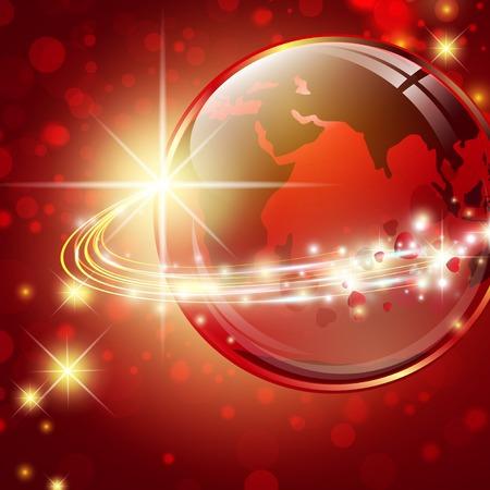 universal love: Tierra con fibras ligeras y estrellas sobre fondo rojo con bokeh