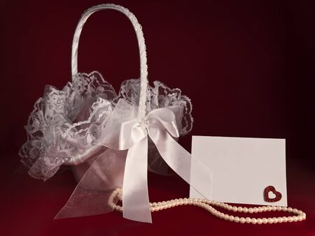 flower basket: Bridal flower basket with pearl beads and invitation card