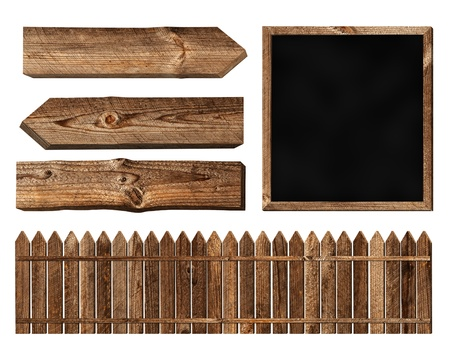 old fence: Set of different wooden elements over white background