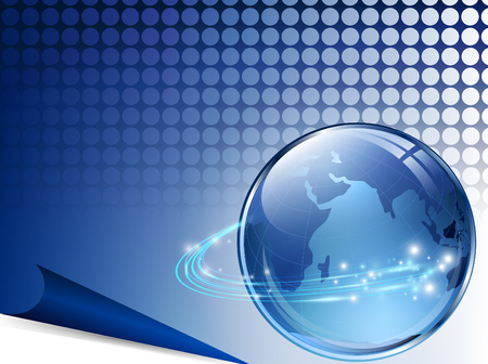 aarde met digitale vezels over blauw raster Vector Illustratie
