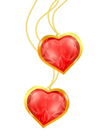 Two ruby hearts at golden chain over white Stock Vector - 8808294