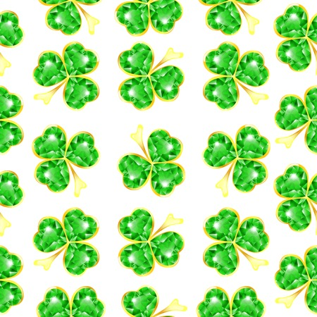 Seamless jewelry shamrock pattern at white background Vector