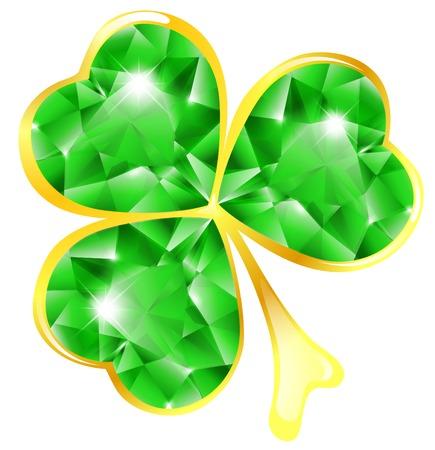 St.Patrick holiday jewelry shamrock over white Illustration
