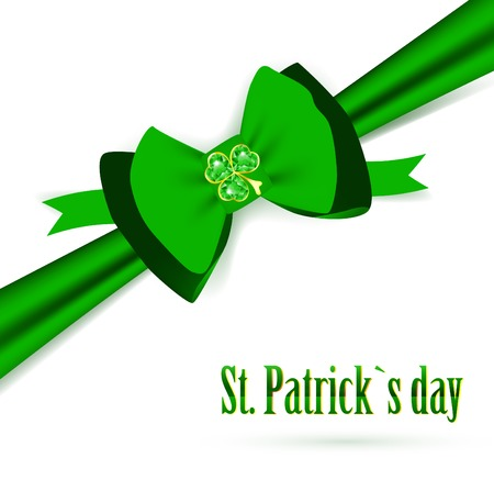 stpatrick: St.Patrick holiday green bow with emerald shamrock over white background