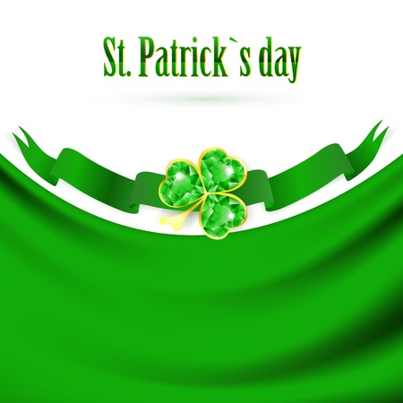 St.Patrick holiday drapery frame with jewelry shamrock at green banner, copyspace Vector