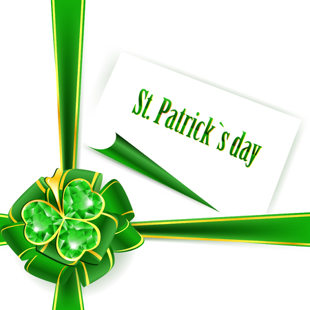 St.Patrick holiday green ribbon bow with emerald shamrock  Stock Vector - 8828110